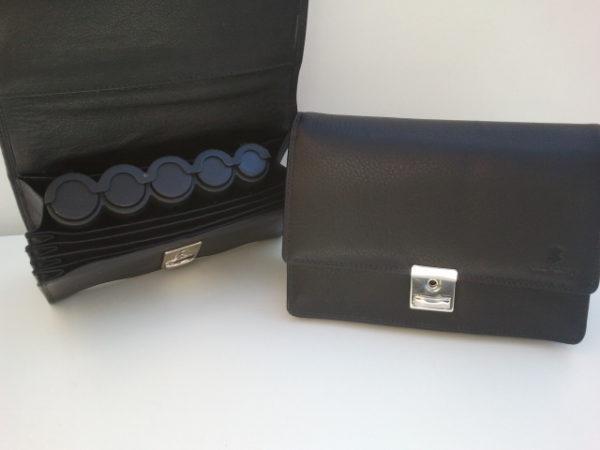 Lederen portemonnee met munthouder, zwart