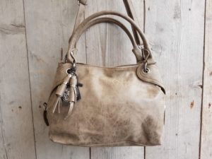 Leuke hippe tas, shopper model, donker taupe