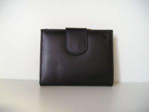 Zwarte lederen portemonnee met ijzeren beugel knip