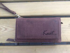 Ruime lederen portemonnee, clutch en schouder tasje, bruin
