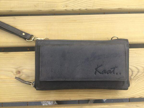 Ruime lederen portemonnee, clutch en schouder tasje, zwart