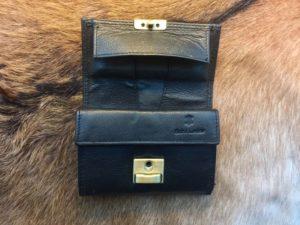 Zwarte lederen portemonnee, ouderwets model LUXE