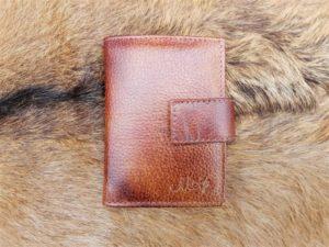Lederen anti skim portemonnee, bruin