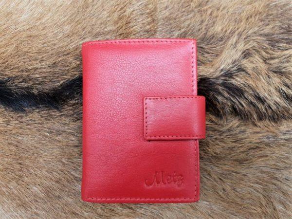 Lederen anti skim portemonnee, rood