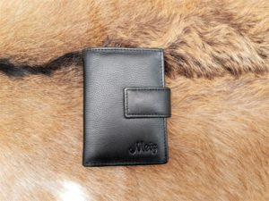 Lederen anti skim portemonnee, zwart