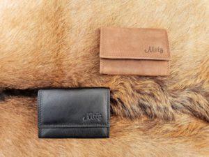 Klein lederen portemonneetje, zwart of hunter