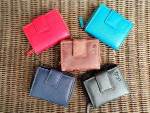 Lederen portemonnee met sterke ijzeren rits in diverse kleuren