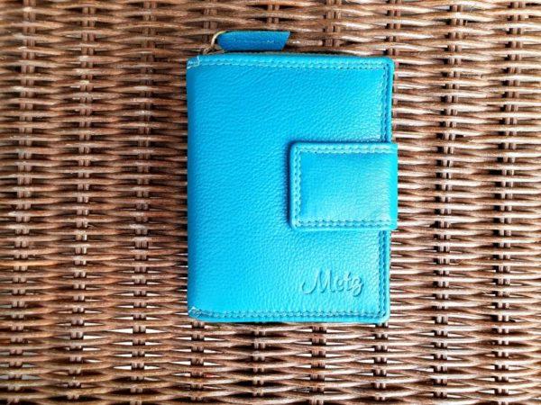 Lederen portemonnee met sterke ijzeren rits, Aqua blauw