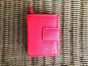 Lederen portemonnee met sterke ijzeren rits, rood