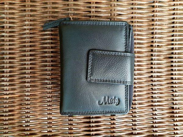 Lederen portemonnee met sterke ijzeren rits, zwart