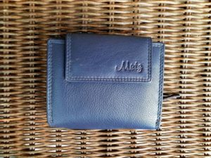 Lederen portemonnee met ritsvak voor kleingeld, blauw
