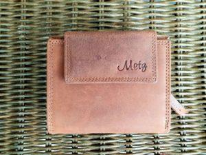 Lederen portemonnee met ritsvak voor kleingeld, hunter bruin