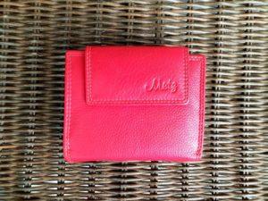 Lederen portemonnee met ritsvak voor kleingeld, rood