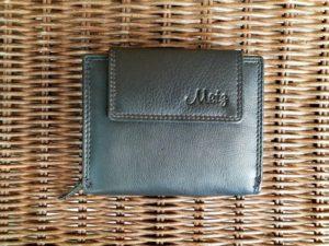 Lederen portemonnee met ritsvak voor kleingeld, zwart