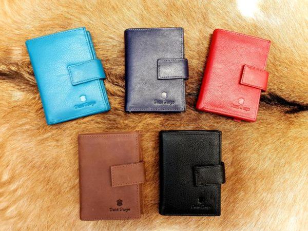 Kleine lederen portemonnee voor geld en pasjes, div kleuren
