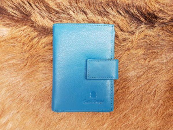 Kleine lederen portemonnee voor geld en pasjes, aqua blauw