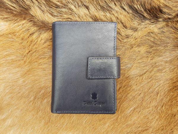 Kleine lederen portemonnee voor geld en pasjes, blauw