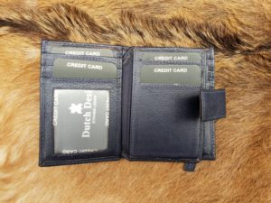 Kleine blauwe lederen portemonnee voor geld en pasjes