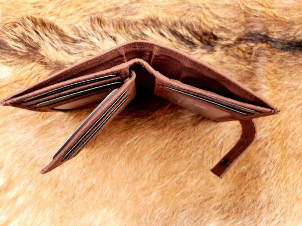 Kleine lederen portemonnee voor geld en pasjes, bruin hunter