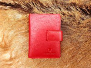 Kleine lederen portemonnee voor geld en pasjes, rood