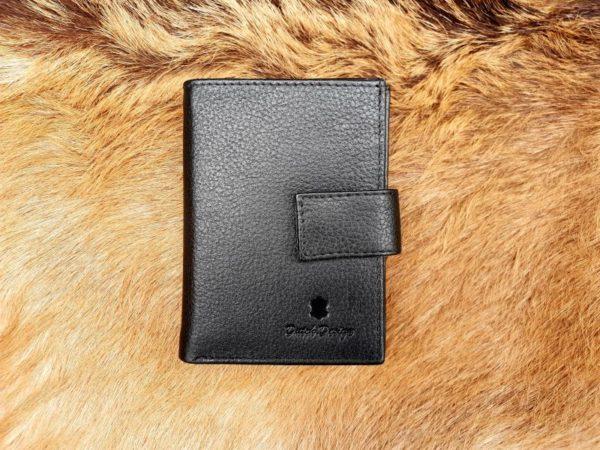 Kleine lederen portemonnee voor geld en pasjes, zwart