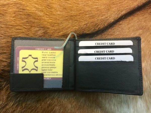 Lederen geld clip portemonnee met bak voor kleingeld, zwart
