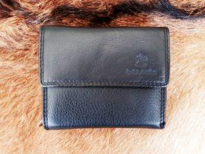 Lederen portemonnee met sterke nylon rits, zwart