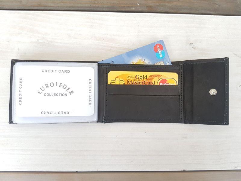 Portemonnee Heren Creditcard.Mooie Zwarte Lederen Creditcard Pasjes Portemonnee