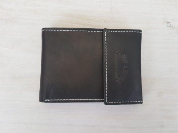 Zwarte lederen creditcard portemonnee