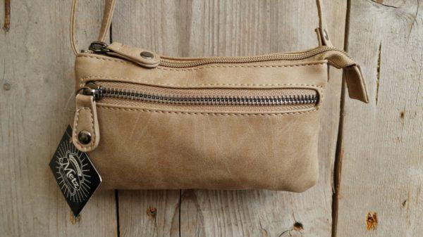 Leuk mini stap- en portemonnee tasje, taupe