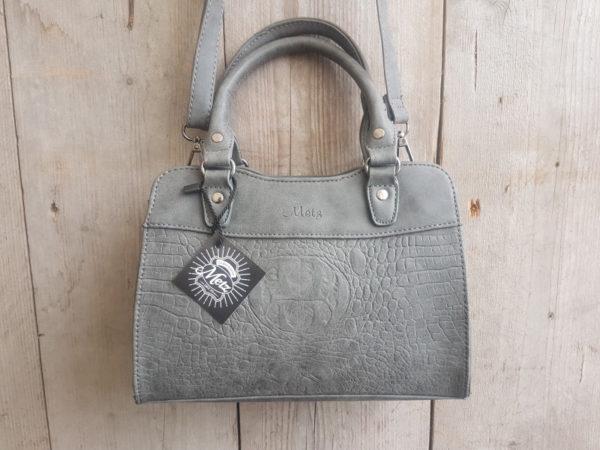 Hermes model tas met leuke kroko print, grijs