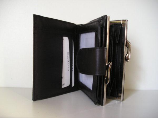 Lederen dames portemonnee met ijzeren beugel knip