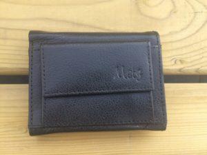 Lederen mini portemonnee, met drukker en pasjes