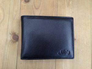 Platte lederen billfold portemonnee, zwart