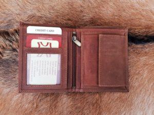 Platte heren portemonnee hoog model, hunter bruin