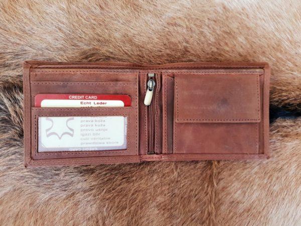 Platte lederen billfold portemonnee, hunter bruin