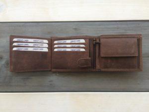 Geschuurde lederen heren billfold portemonnee