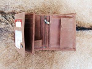 Lederen heren portemonnee hoog model, hunter bruin