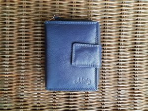 Lederen portemonnee met sterke ijzeren rits, blauw