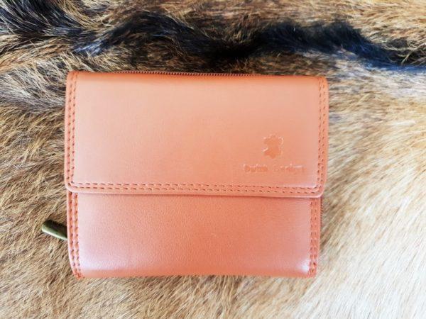 Lederen portemonnee met sterke nylon rits, camel