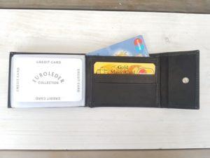 Lederen creditcard portemonnee, zwart