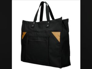 Canvas boodschappentas met canvas handvatten, zwart breed