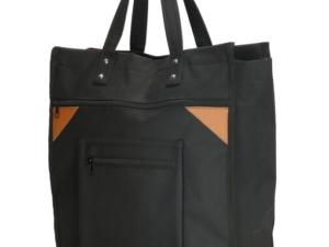 Zwarte canvas boodschappentas met canvas handvatten