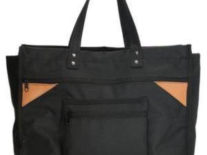 Zwarte canvas boodschappentas, breed met canvas handvatten