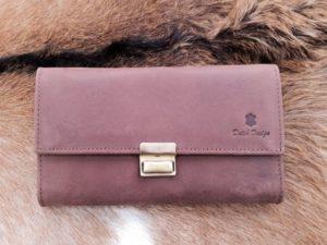 Lederen portemonnee met groot muntvak bruin hunter
