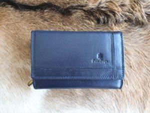 Ruime en overzichtelijke lederen dames portemonnee, blauw