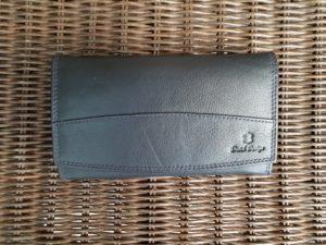 d1d06d934ef Lederen beugel portemonnee met ijzeren knip sluiting, blauw