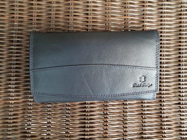 Lederen beugel portemonnee met ijzeren knip sluiting, blauw