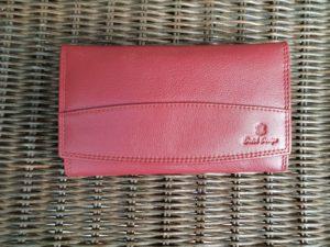Lederen beugel portemonnee met ijzeren knip sluiting, bordeaux