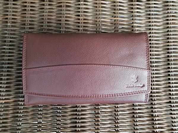 Lederen beugel portemonnee met ijzeren knip sluiting, bruin